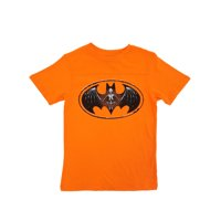 Batman DC Comics Boys Orange Skeleton Bat Symbol Halloween T-Shirt