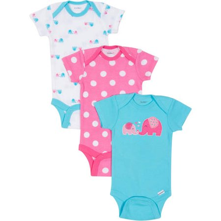 Gerber Onesies Brand Newborn Girl 3-Pack Assorted Short Sleeve One Piece - 18 Months