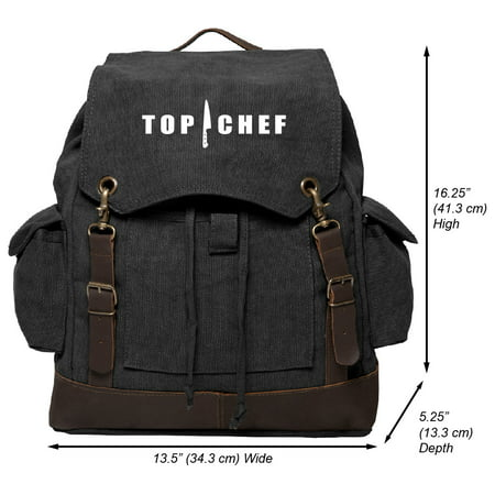 Top Chef Logo Vintage Canvas Rucksack Backpack with Leather Straps, Black &