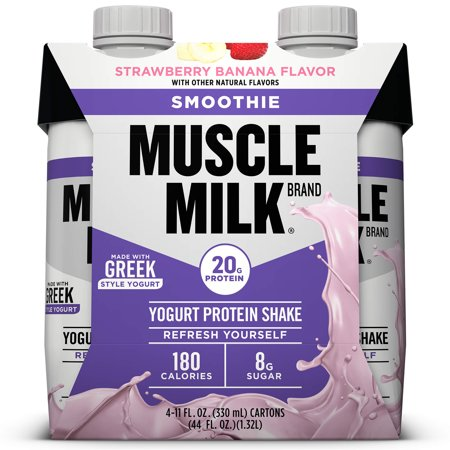 Muscle Milk Smoothie Yogurt Protein Shake, Strawberry Banana, 20g Protein, Ready to Drink, 11 Fl Oz, 4