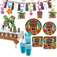 Party City Tropical Tiki Party Supplies for 120 Guests, 897 Pieces, Includes Tableware and Decorations