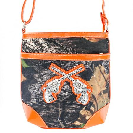 Western Camouflage Rhinestone Pistol Womens Purse Cross Body Handbags Messenger