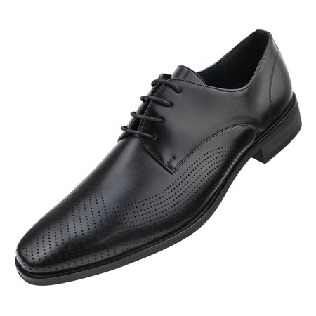 Amali Mens Smooth Embossed Faux Leather Cap Toe Oxford Dress Shoes Available in Black, Grey, and Brown