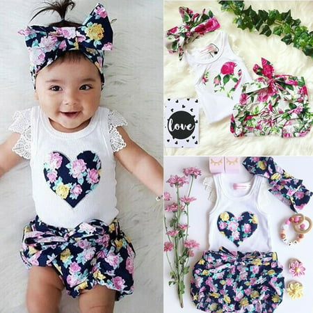 3PCS Toddler Baby Kids Girl Lace Tops T-shirt+Floral Shorts Pants Outfits Set Clothes