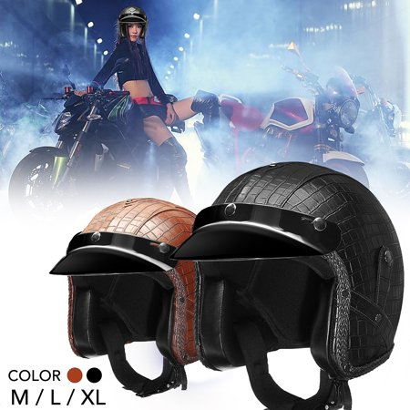 Vintage 3/4 Open Face Motorcycle Scooter PU Leather Motorcycle Half Helmets Lightweight Breathable To Protect Your Head M/ L/ XL[Color: Brown]