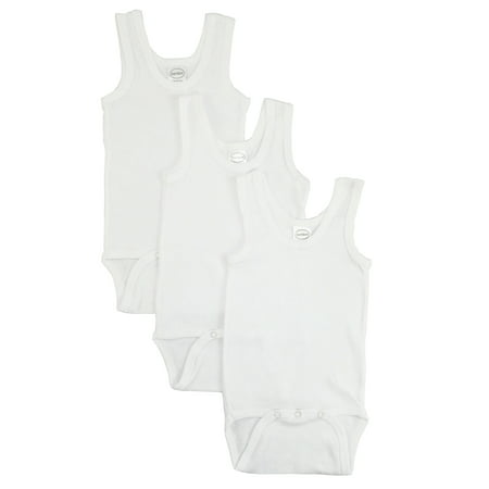 Bambini White Tank Top Onesie Bodysuits, 3pk (Baby Boys Or Baby Girls, Unisex)