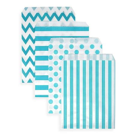48 Chevron Polka Dot Stripe Aqua Blue Paper Treat Favor Bags 5x7 Gift Bags