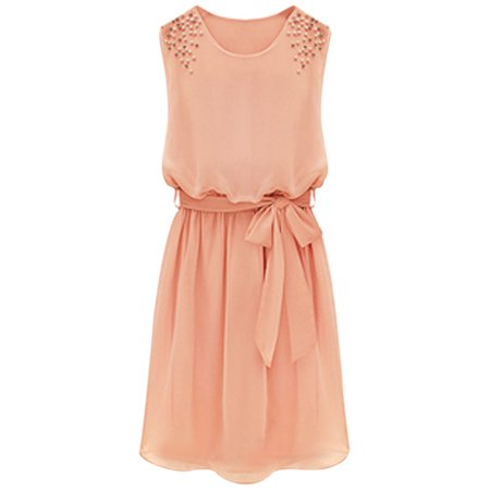 Unique Bargains Ladies Imitation Pearl Decor Waist Strap Round Neck Chiffon Dress