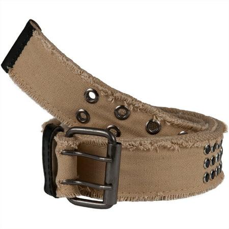Frayed Jewel Studded Tan Web Double Grommet Belt ()