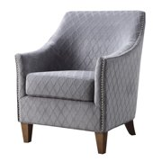 Emerald Home Kismet Wembley Graphite Accent Chair with Velvet Like Diamond Pattern Upholstery And Nailhead Trim