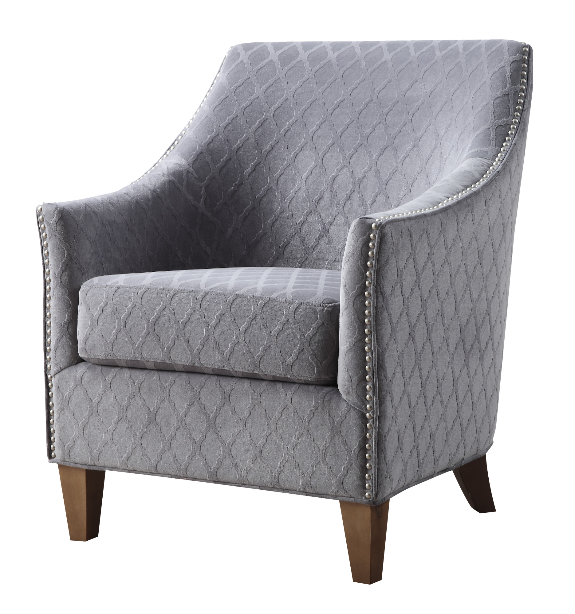 Emerald Home Kismet Wembley Graphite Accent Chair with Diamond Pattern Fabric And Nailhead Trim