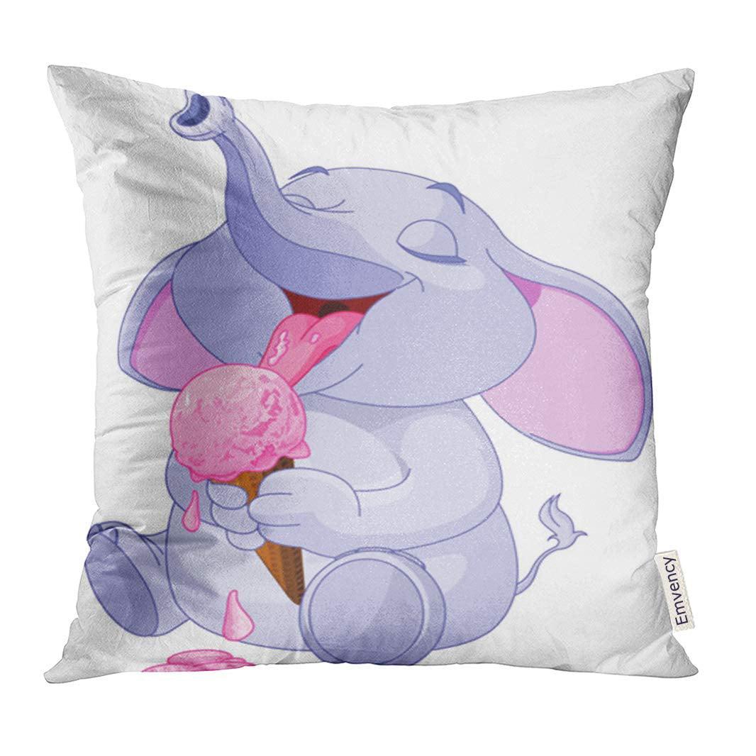 CMFUN Animal Cute Baby Elephant Eating Ice Cream Cartoon Pillow Case 20x20 Inches Pillowcase