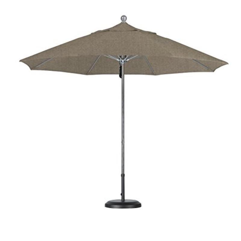 9' Fiberglass Market Umbrella Pulley Open Silver Anodized/Sunbrella/Taupe - image 1 de 1