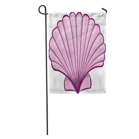 JSDART Scallop Pink Shell Sea Seashell Abstract Aquatic Beach Cartoons Garden Flag Decorative Flag House Banner 12x18 inch - image 1 de 2