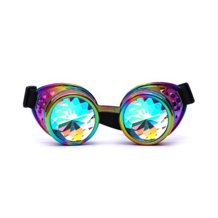 C.F.GOGGLE Steampunk Goggles Welding Laser Diffraction Crystal Glass Lens Gothic Halloween Victorian Cosplay Glasses - Halloween Contact Lens Black Sclera
