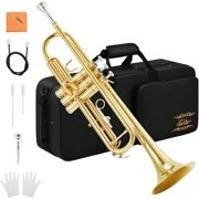 Eastar Bb Trumpet Standard Trumpet Set for Student Beginner with Hard Case, Valve Oil, Cleaning Kit, 7C Mouthpiece and Gloves, Brass Bb Trumpet Instrument, Gold, ETR-380
