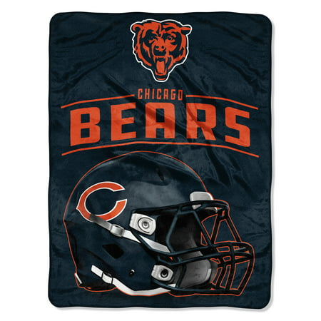 "NFL Chicago Bears ""Franchise"" Micro Raschel Throw, 46"" X - Chicago Bears Home Decor"