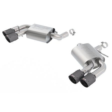 Borla 11920CFBA S-Type Axle-Back Exhaust System; 2.75in. Into Muffler Dual 2.5in. Out; Incl. Mufflers/Tailpipes/Clamps/4x6.25 in. Carbon Fiber Black Round Tips; Dual Split Rear Exit; (Ranger Rear Exhaust System)