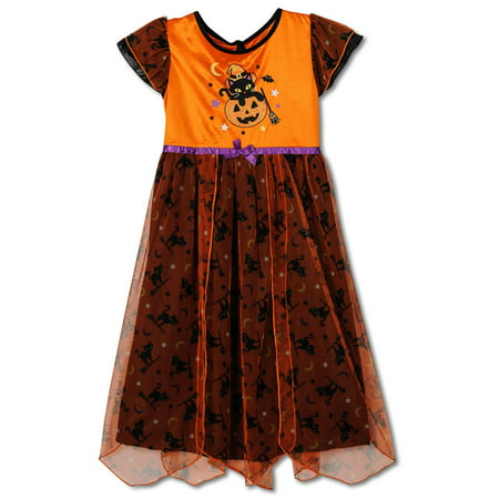 Halloween Fancy Girls Nightgown, Costume Sizes 4-8, Orange, Size: 6-6X