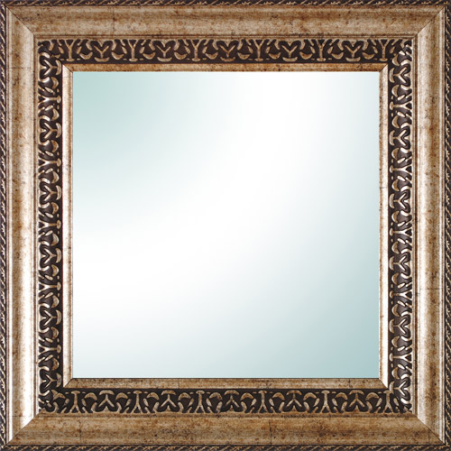 "14"" x 14"" Champagne Ornate Square Mirror"