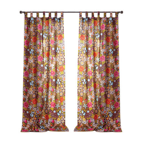 Karma Living Bohemian Bouquet Cotton Tab Top Window Single Curtain Panel (Set of 2)