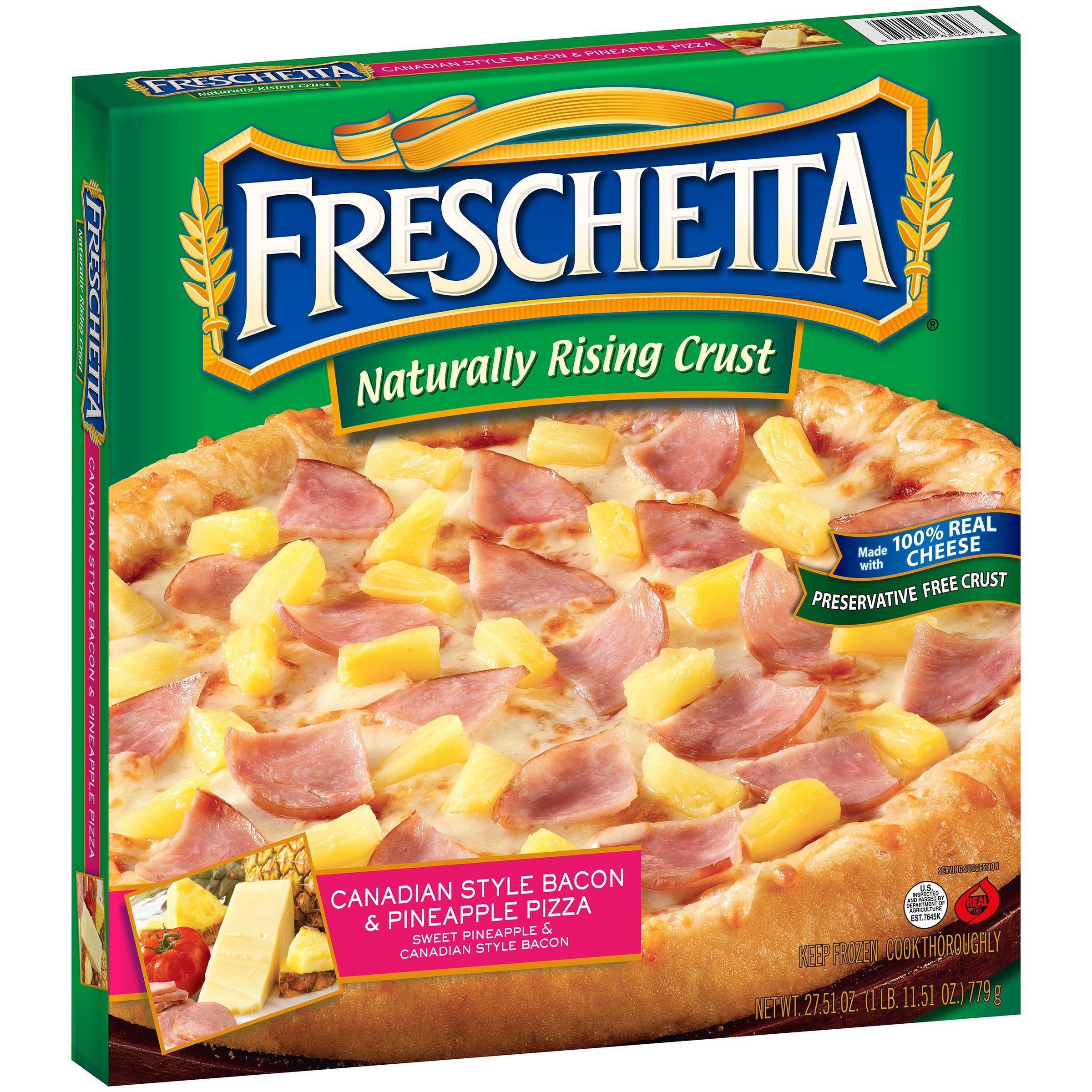 Freschetta® Naturally Rising Crust Canadian Style Bacon & Pineapple Pizza 27.51 oz. Box