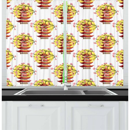 Ancient China Curtains 2 Panels Set, Chinese Pagoda Illustration in Lively Colors with Sakura Cherry and Sunset, Window Drapes for Living Room Bedroom, 55W X 39L Inches, Multicolor, by - Color In Chinese