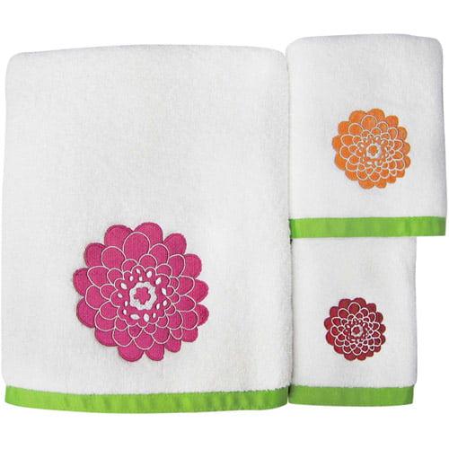 stella pink 3 piece towel set walmartcom - Pink Bathroom Towels