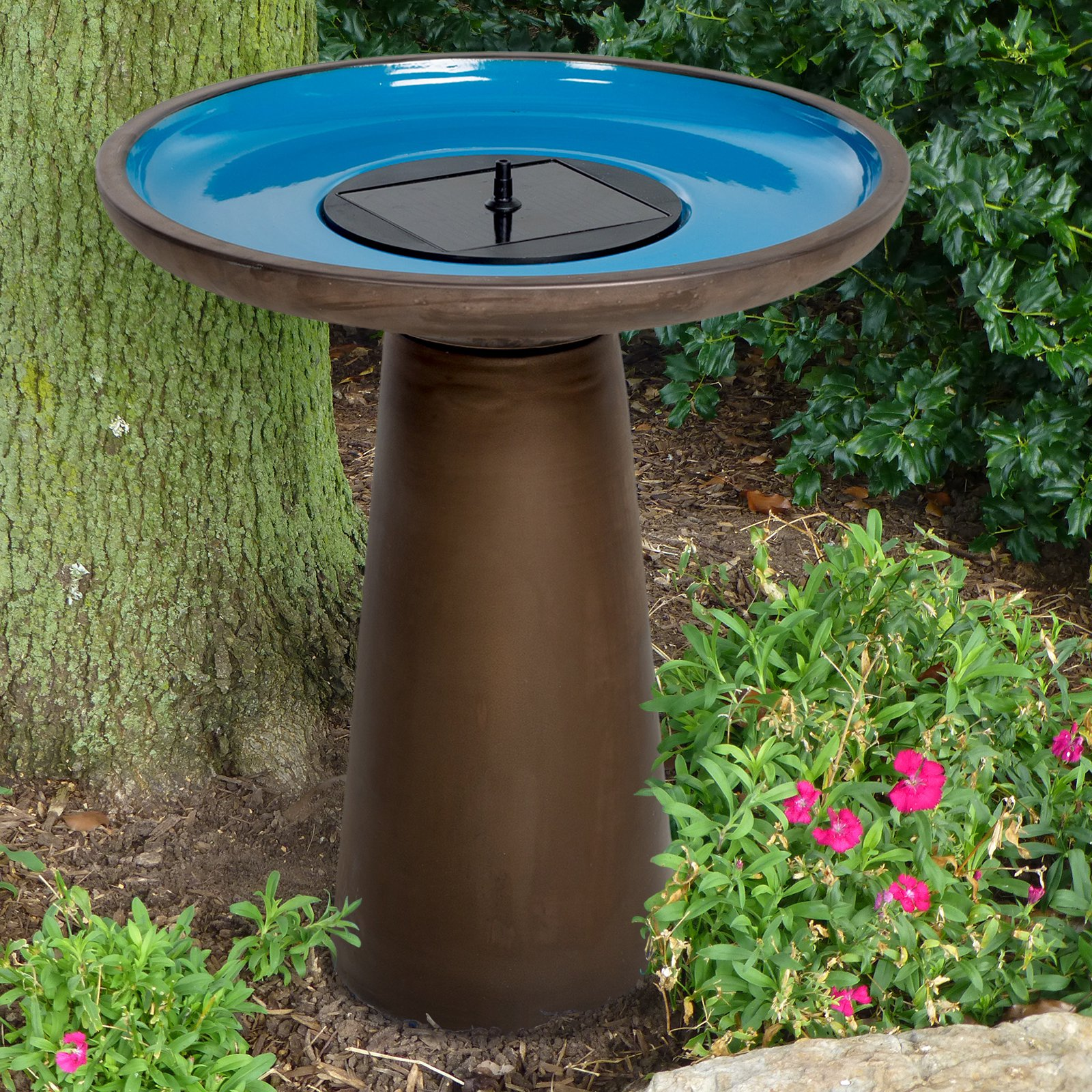 Belham Living Rooney Solar Ceramic Bird Bath by Smart Solar