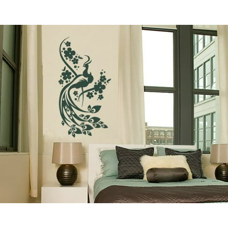 - Floral Peacock Wall Decal - wall decal, sticker, mural vinyl art home decor - 1017 - White, 8in x 15in