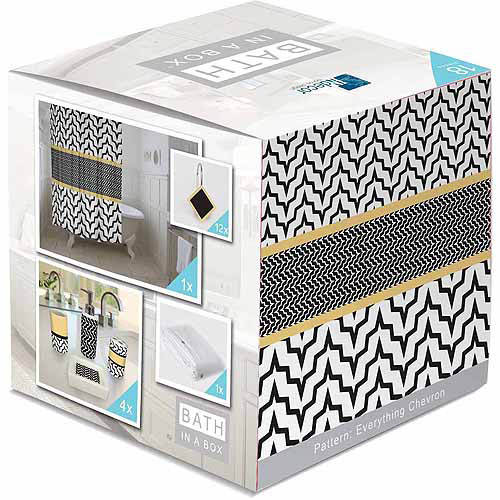 Indecor Home Bath in a Box 18-Piece Bathroom Set, Everything Chevron