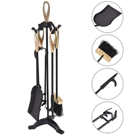 Gymax 5 PCS Hearth Tool Fireplace Set Fire Tools Set Black Brass Home ()