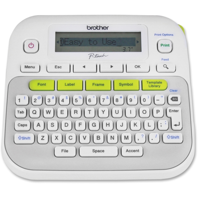 "Brother Easy-to-Use Label Maker - Thermal Transfer - 0.79 in/s Mono - 180 dpi - Label, Tape - 0.14"", 0.24"", 0.35"", 0.47"""