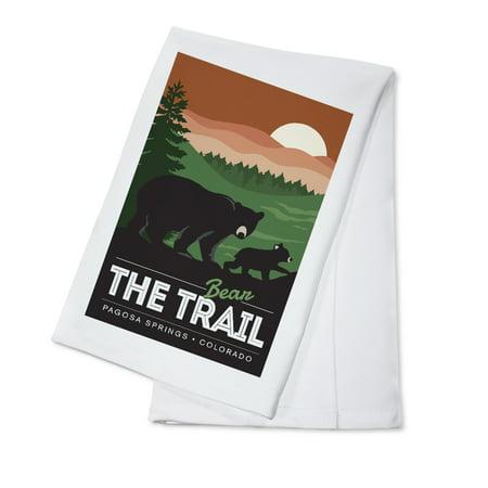 Pagosa Springs, Colorado - Bear the Trail - Lantern Press Artwork (100% Cotton Kitchen Towel) - Halloween Party Colorado Springs