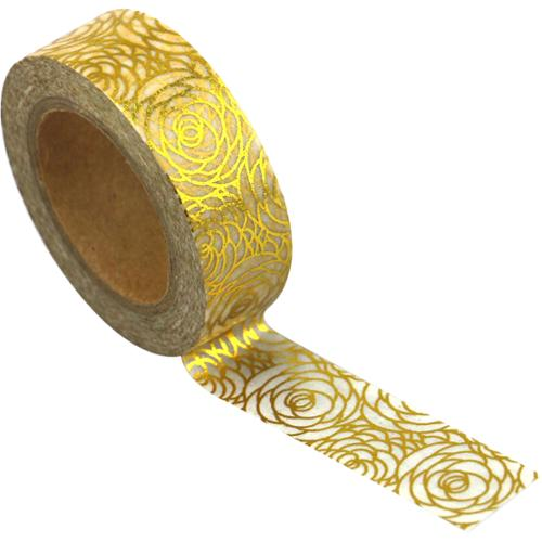 Love My Tapes Foil Washi Tape 15mmx10m-Gold Floral Design