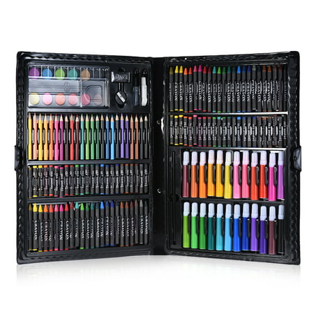 168pcs Drawing Pen Art Set Kit Painting Sketching Color Pencils Crayon Oil Pastel Water Color Glue with Case for Children (Drawing Pastel)