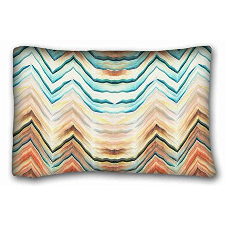 WinHome Chevron Gradient Wave Tribal Striped Geometric Pillowcase Throw Cushion Pillow Case Cover Anchor Light Blue Coral Teal Pink Mint Green Turquoise Aqua Grey Beige For Home Sofa Size 20x30 Inches