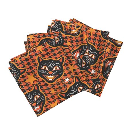 Scary Cats Vintage Halloween Orange Cotton Dinner Napkins by Roostery Set of 4 - Halloween Cat Scary