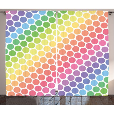 Focal Point Panel - Polka Dots Home Decor Curtains 2 Panels Set, Polka Dots In Soft Rainbow Colors Big Points Eternal Shapes Retro Artful Pattern, Living Room Bedroom Accessories, By Ambesonne