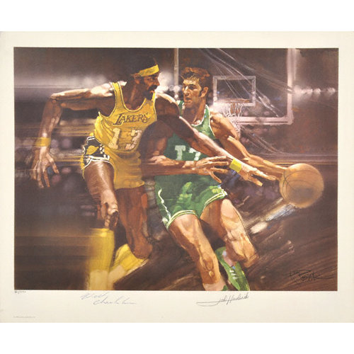 NBA - Wilt Chamberlain Los Angeles Lakers and John Havlicek Boston Celtics Dual Autographed 17x21 Lithograph