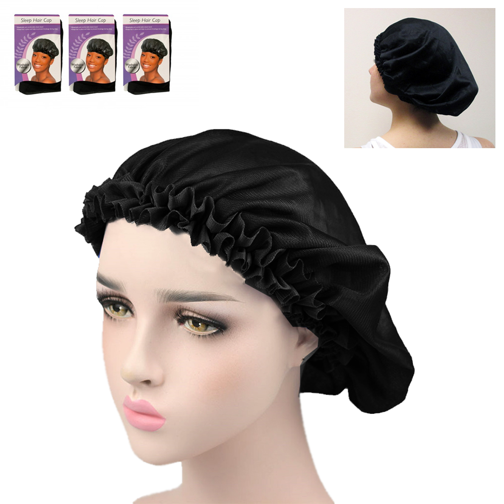 3 Set Fabric Night Sleep Cap Hair Bonnet Hat Head Cover Wide Band Elastic Womens