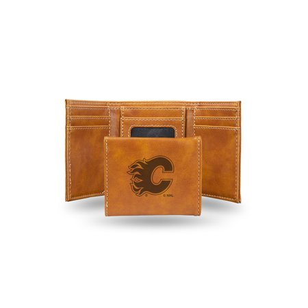 pretty nice ccbbf d74e1 Calgary Flames Laser Engraved Brown Trifold Wallet | Walmart ...