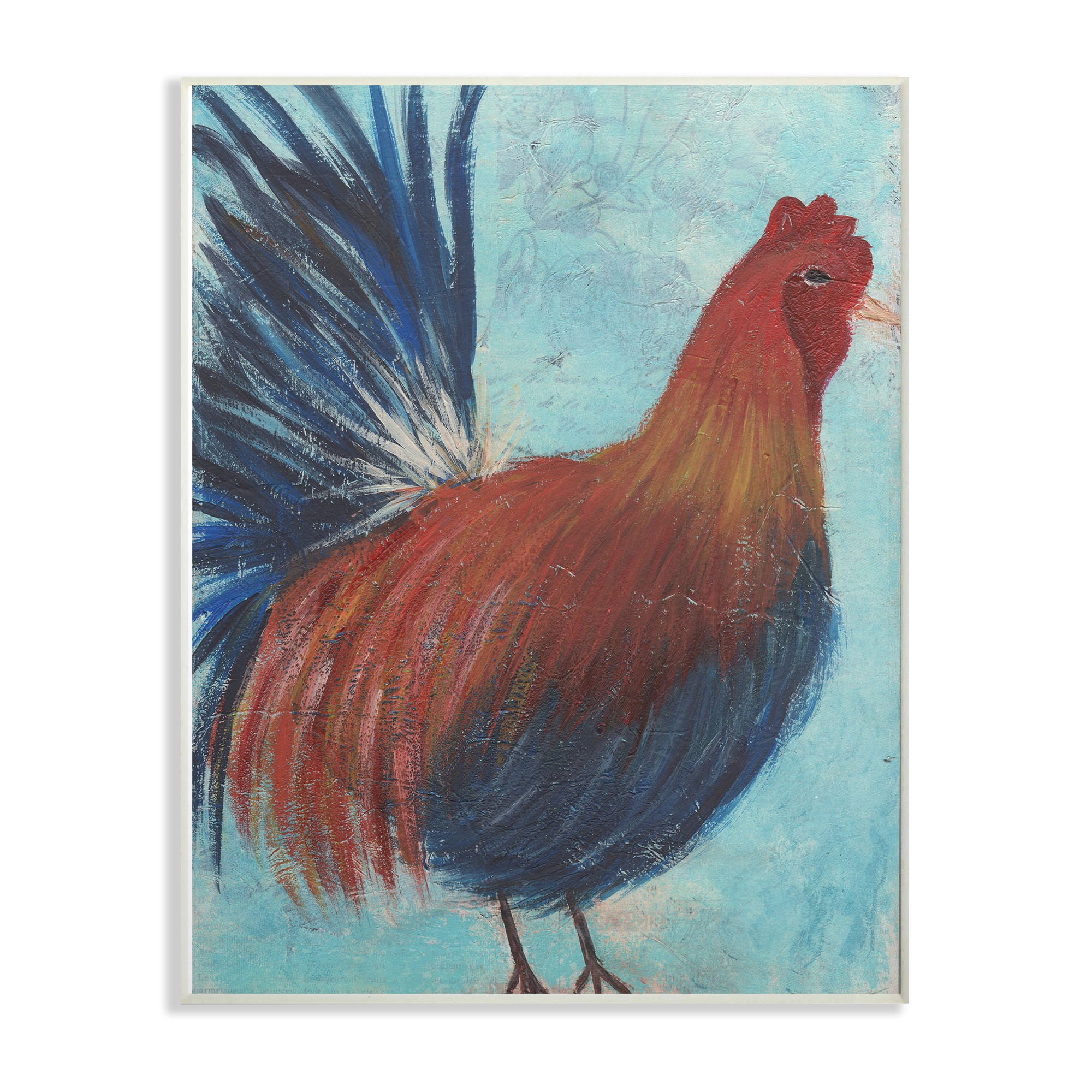 The Stupell Home Decor Collection Rooster Painting Distressed Surface Oversized Wall Plaque Art, 13 x 0.5 x 19