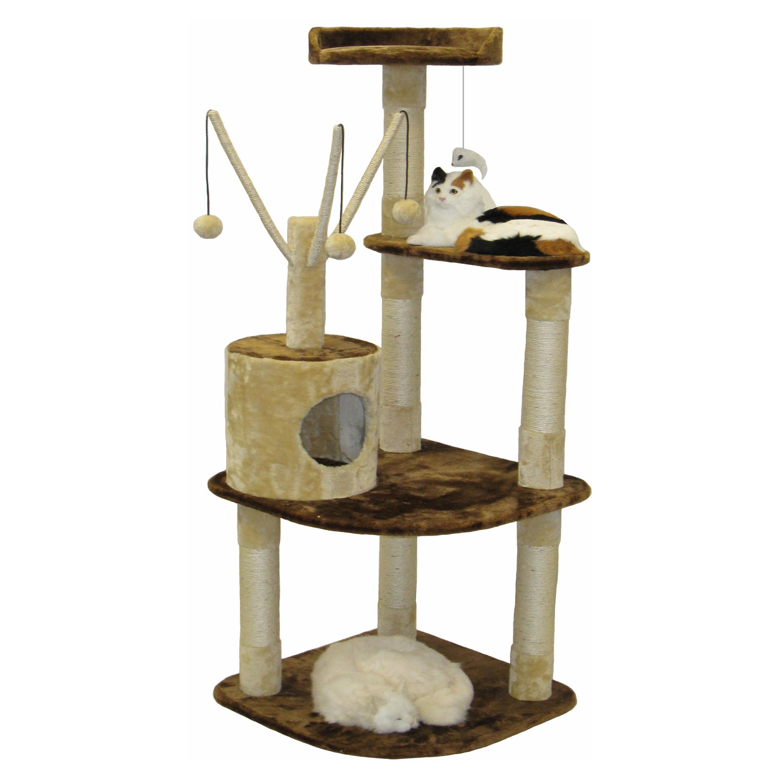 go pet club brown and beige cat climber furniture condo   in  - go pet club brown and beige cat climber furniture condo   in walmartcom