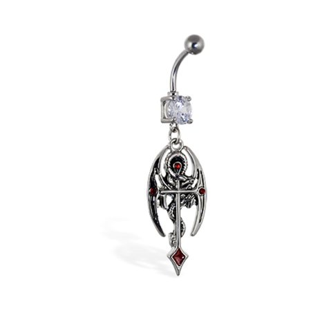 Navel Ring With Dangling Dragon And Cross