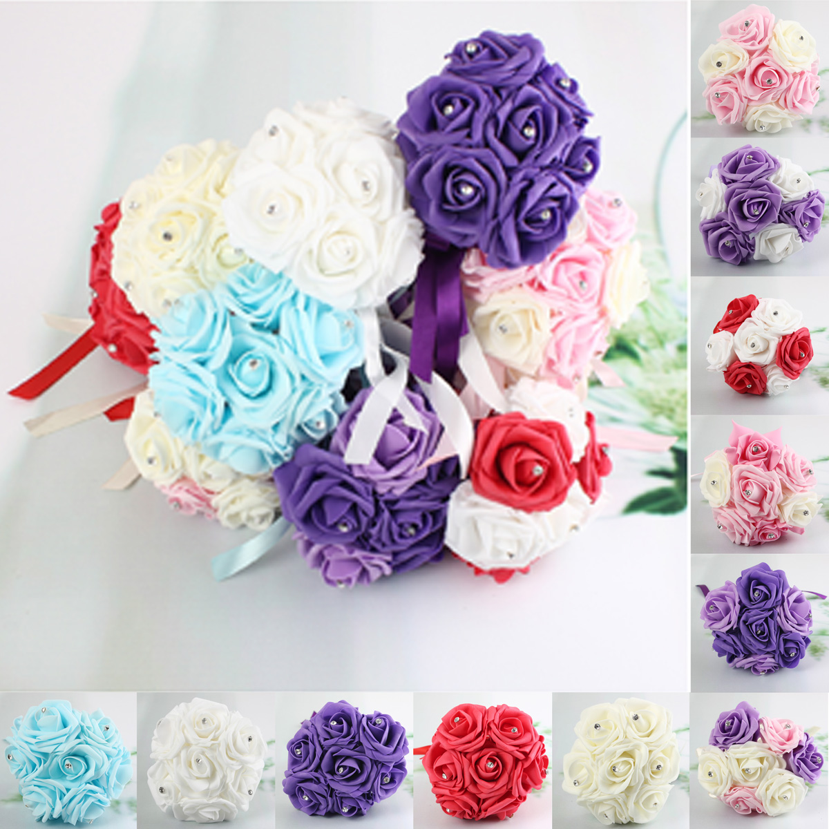 1 Bunch Artificial Foam Rose Craft Flower Bridal Rhinestone Crystal Bouquet Wedding Party Decor