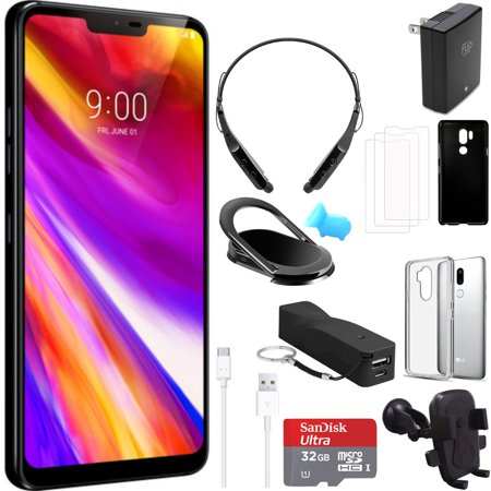 LG G7 ThinQ 64GB IPS LCD Smartphone Unlocked Black (LMG710ULM AUSABK) with  32GB Memory Card & Accessories Bundle