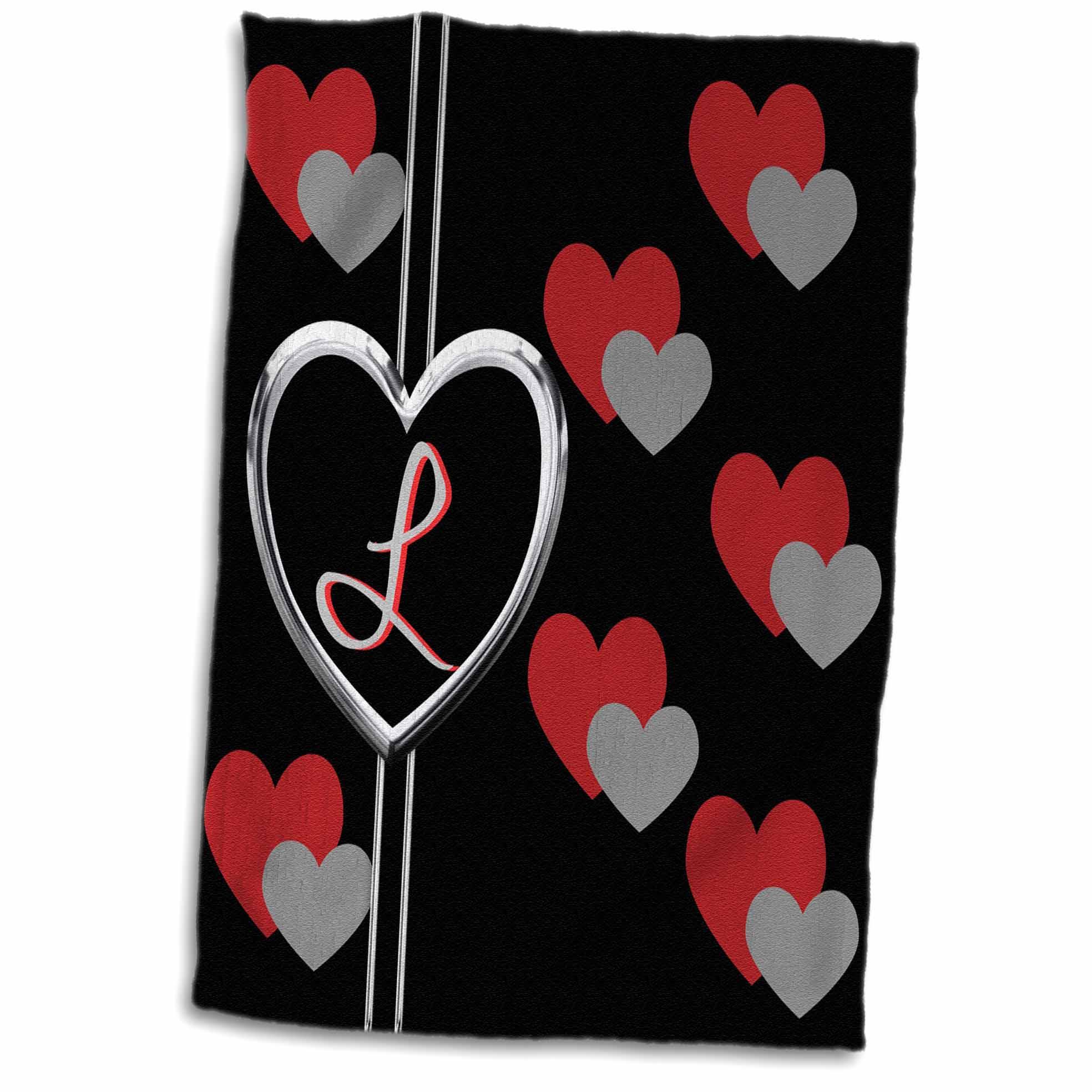 3dRose Modern Geometric Black Red Grey Hearts Pattern Monogram Letter L - Towel, 15 by 22-inch