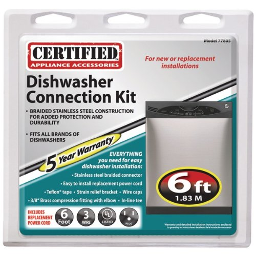 Certified Appliance 77805 Braided Stainless Steel Dishwasher Installation Kit, 6'