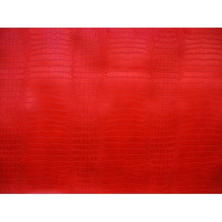 Orange Crocodile Leather (Crocodile Nile Red embossed Faux vinyl fake Leather upholstery fabric sold per yard 55